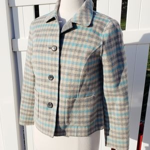 Talbots Wool plaid gray teal winter Blazer size 4